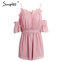 Simplee Lace Off Shoulder Women Jumpsuit Romper Summer White Chiffon Short Sleeve Playsuit Sexy Bow Strap