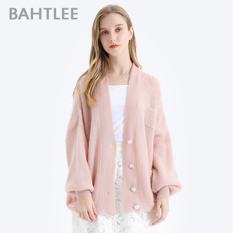BAHTLEE Women Mohair Sweater Autumn Winter Gold Lurex Wool Knitted Jumper Cardigan Full Puff Sleeves V-Neck Loose Style Button