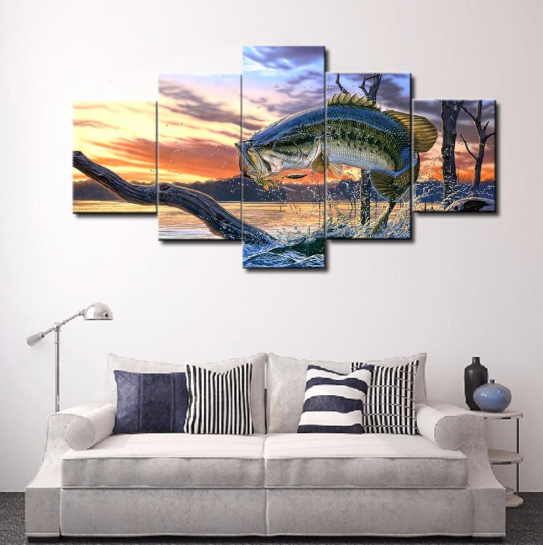 Framed 5 Pieces/set Jumping Bass Fishing 5 Piece Wall Decor Home ...