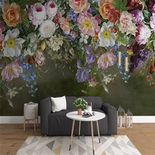 Hand-painted rose TV background wall custom high-end mural factory wholesale wallpaper mural photo wall hand painted tropical rainforest plantain wall custom high end mural factory wholesale wallpaper mural photo wall