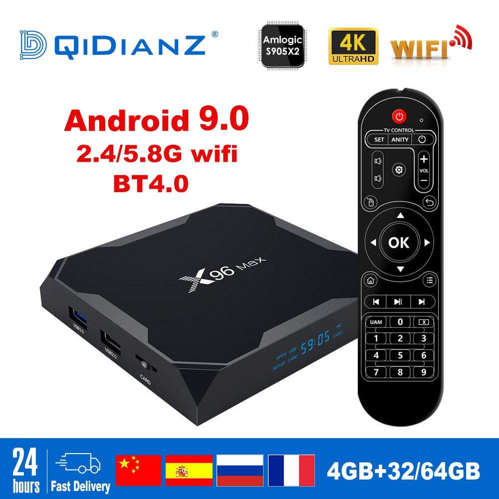 X96 Max Smart tv box Android 9.0 2.4G/5G Wifi Bluetooth 4.0 S905X2 Quad Core 4K Netflix Player X96max décodeur