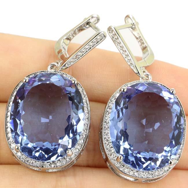 Elegantiškas turtingas mėlynas violetinis Tanzanitas, CZ vestuvių - Mados papuošalai - Nuotrauka 3