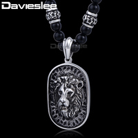 8mm X 70 6cm Black Ball Glass Bead Link 316L Stainless Steel Lion Pendant Necklace Mens