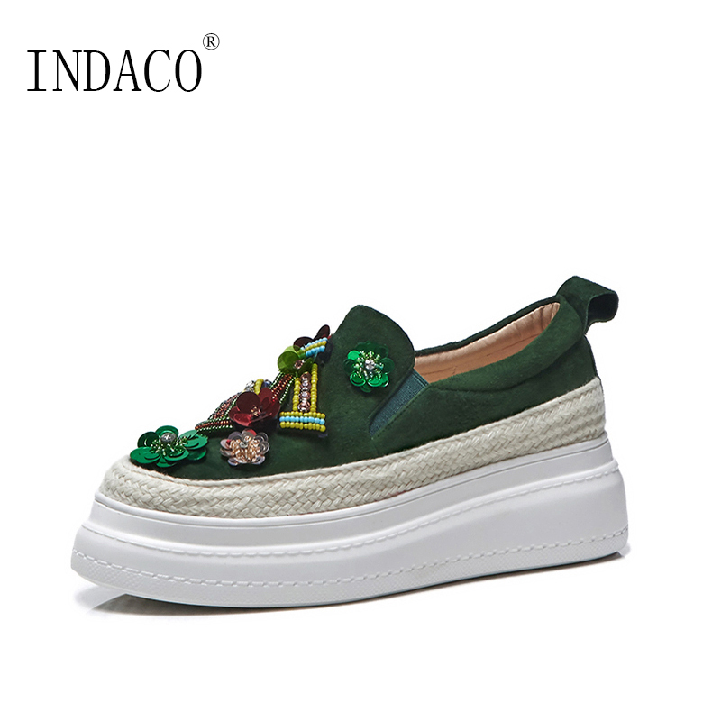 Platform Sneakers Women Leather Loafers Black Green Bling Bling Platform Flat Sneakers 5.5cm