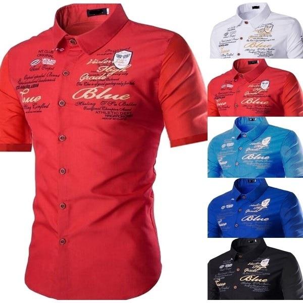 Brand Designer Men Polyester Turn-down Collar Shirts Casual Short Sleeve High Quality Men Old Color Shirt 2018 Hot Sale