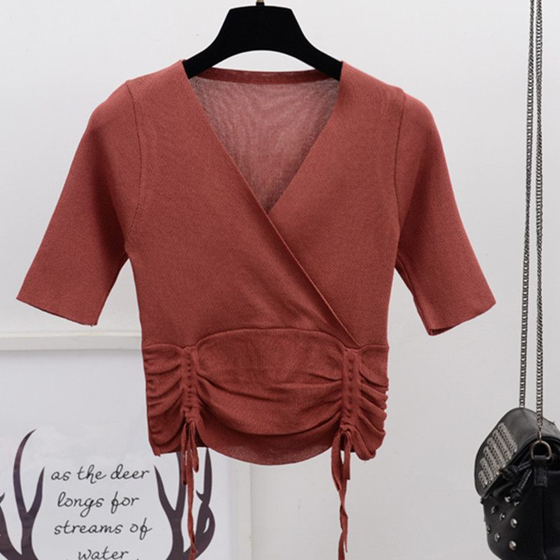 Free Shipping 2018 Autumn Women Tops T-Shirt Sexy Crisscross Out Cropped T Shirt Knitted Tee Girls Summer Tops brown color