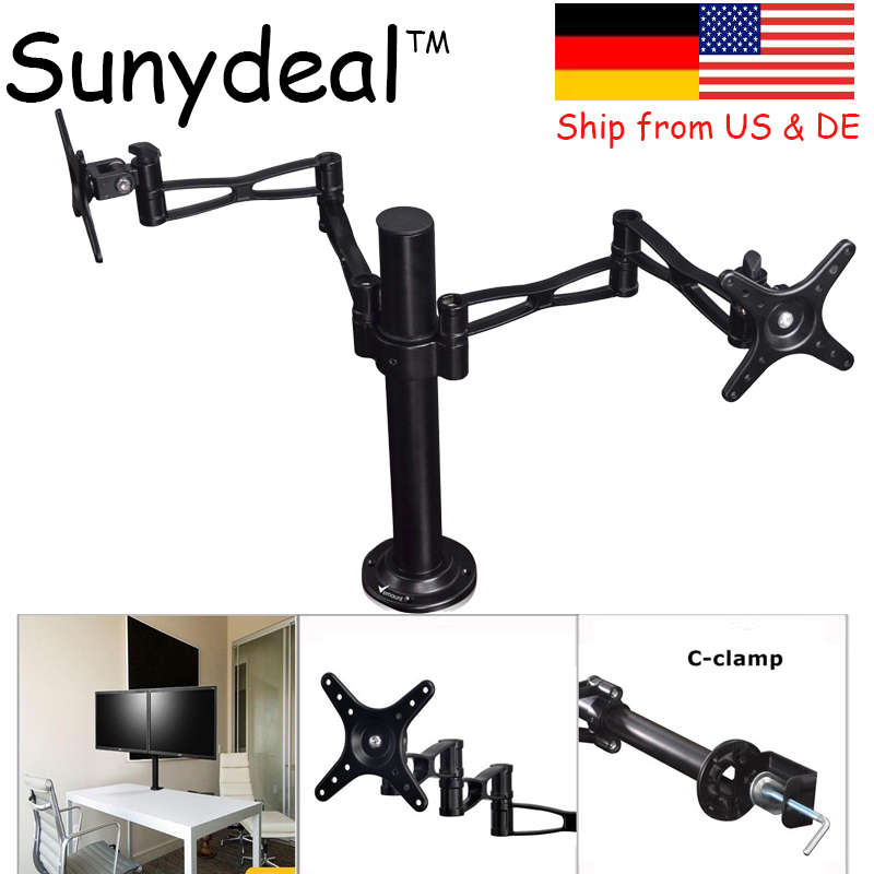 Dual Arm TV Wall Mount PC Monitor Mount Double Arm Desk Stand TV LCD LED Support 10-27 Screen Tilt VESA Adjustable TV Stand