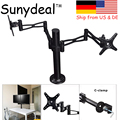 Dual Arm TV Wall Mount PC Monitor Mount Double Arm Desk Stand TV LCD LED Support 10-27