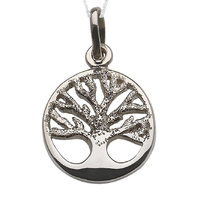 Necklace Pendant family trees life Silver smooth and chopped. Includes Chain de 45 cm and Case for Gift