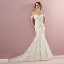 Verngo Mermaid Wedding Dress Appliques Lace Gowns Lace-up Back Bride Plus Size 2019 Vestido Novia