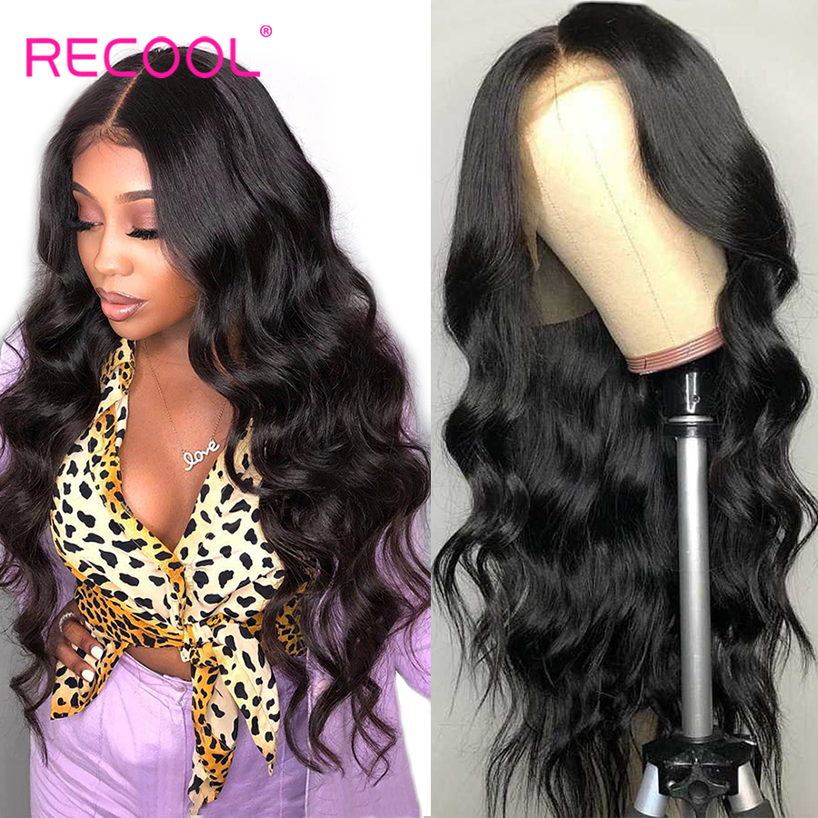 Recool Brazilian Body Wave Wig Lace Front Human Hair Wigs Pre Plucked 360 Lace Frontal Wig