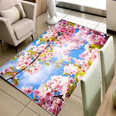 Else Spring Pink White Flowers On Tree Nature  3d Print Non Slip Microfiber Living Room Decorative Modern Washable Area Rug Mat