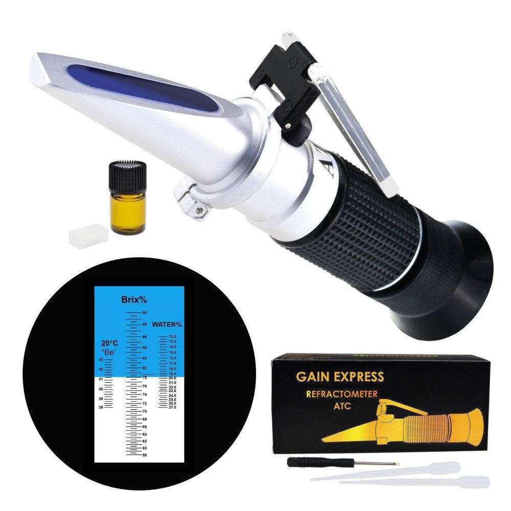3-em-1 Mel Refratômetro Brix/Umidade/Baume Tester Medidor ATC, tri-Escala 58-90%/12-27%/38-43Be ', Nível de Teor de Água com Açúcar