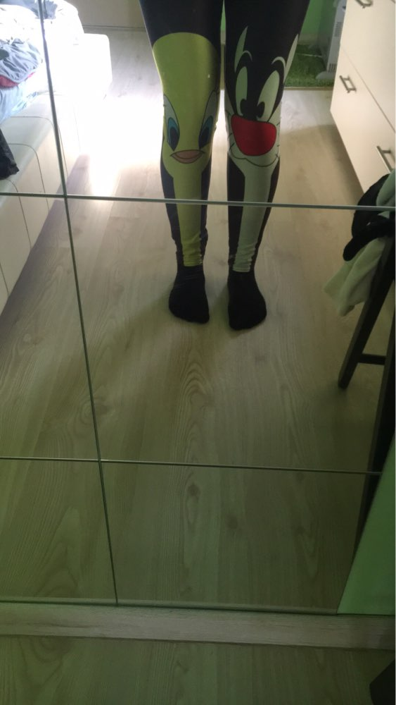 Qickitout Leggings 2018 Drop Shipping Fitness Pants Women Lovely Cartoon Cat and Duck Printed Women Cute Casual Leggings