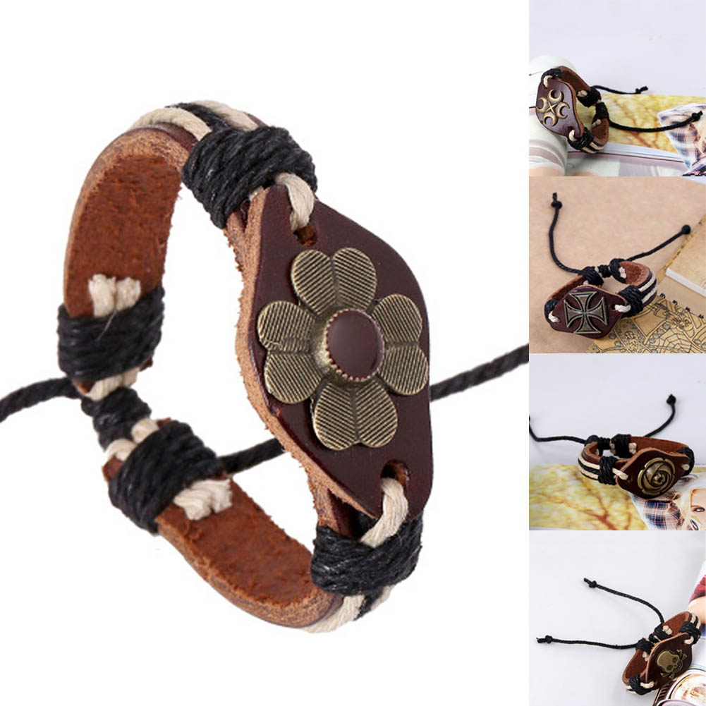 Коричневый Цвет кожаный браслет с пряжкой сплава Регулируемый модные женские туфли и Для мужчин Браслеты ювелирные изделия