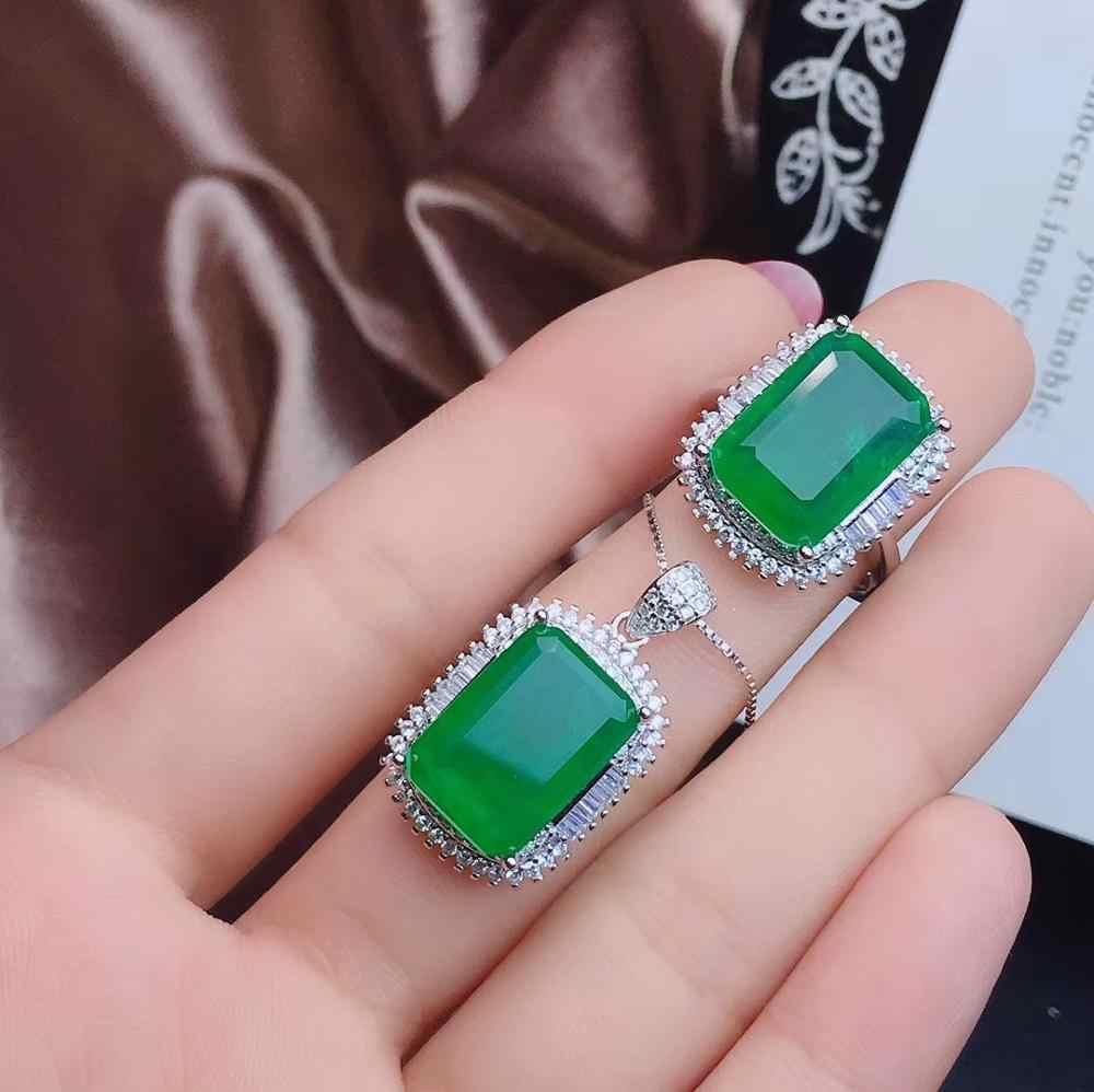 KJJEAXCMY boutique schmuck 925 sterling silber eingelegte natürliche smaragd weibliche halskette ring anhänger set neue unterstützung erkennung