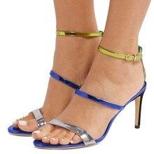 Blue Triple Straps Stiletto Heel Ankle Strap Sandals Women Mixed Color Thin Heel Sandals Peep Tpe Sexy Shoes Women Wedding trendy iridescent color and stiletto heel design sandals for women