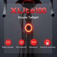 Xlite100 Lanterna Traseira Bike Smart Bike Light USB Auto Start/Stop Brake Sensing IPx6 Waterproof LED Charging Bycicle Light