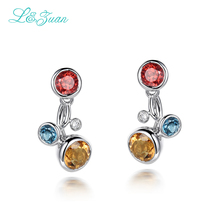 l&zuan 925 Sterling Silver 1.68ct Natural Citrine Yellow Stone Elegant Stud black Friday Fine Jewelry Earring For Women