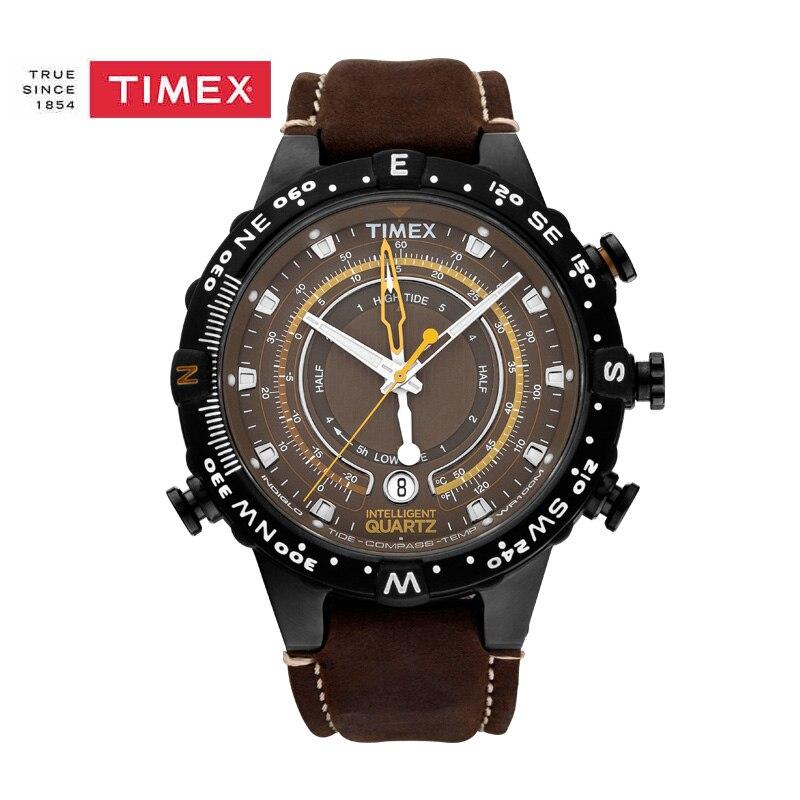 Timex Original Men's T2P141 Intelligent Quartz Tide Temp Compass Leather Strap Watch timex t2j921