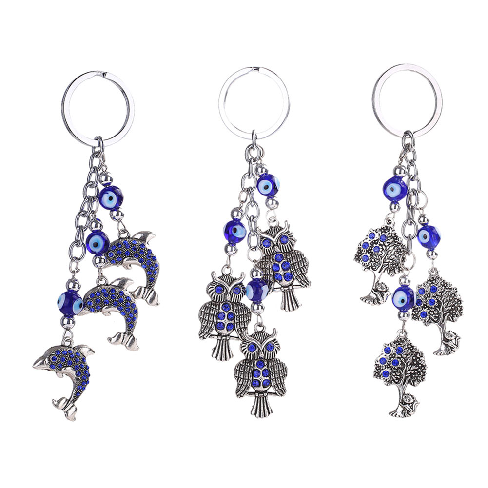 Apprehensive New Casual Anchors/owls/blue Eyes Keychain Bag Pendant Alloy Crystal Car Jewelry Keyring Key Chains Lustrous Jewelry & Accessories Key Chains