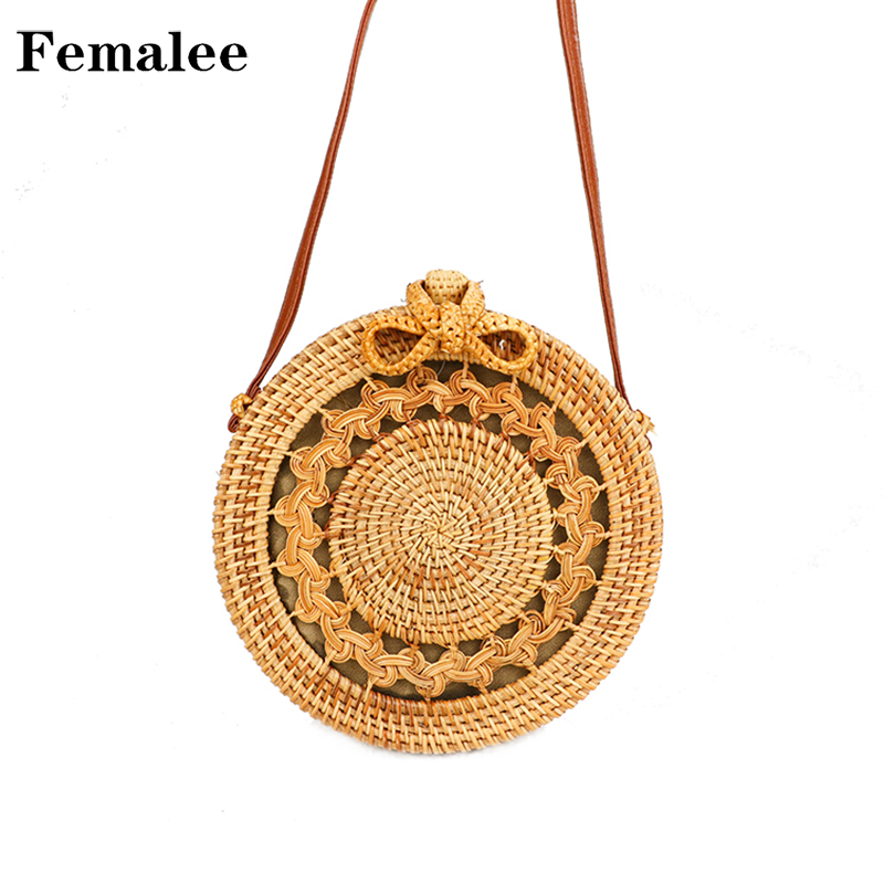 FEMALEE 2018 Summer Beach Round Bag Hollow Out Pattern Rattan Bag Bow Knot Shoulder Bag Braid Bali Handmade Vacation Circle Bag hollow out round pattern alloy cuff bracelets