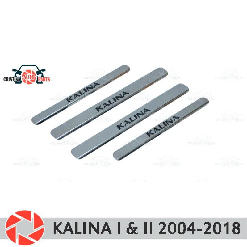 Soleiras de porta para Lada Kalina 2004-2018 proteção guarnição scuff placa passo interior car styling decoração letras pretas versão