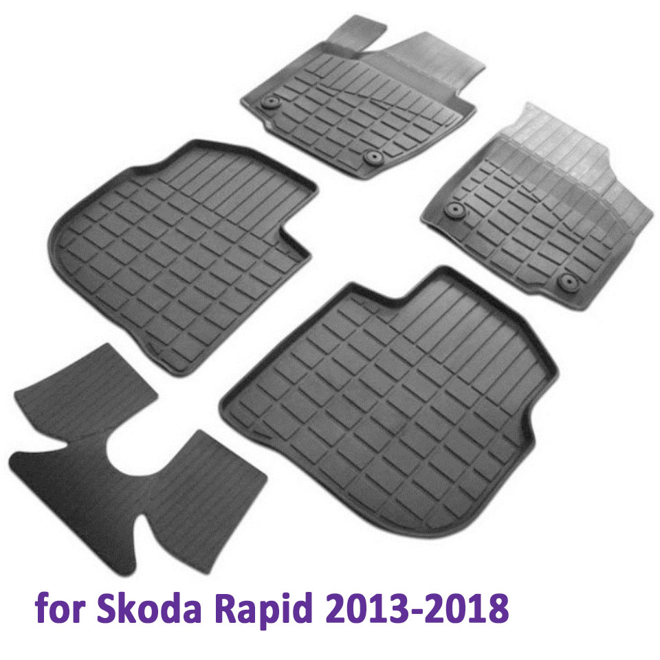 Rubber floor mats into saloon for Skoda Rapid 2013-2019 5 pcs/set (Rival 65102001) недорого