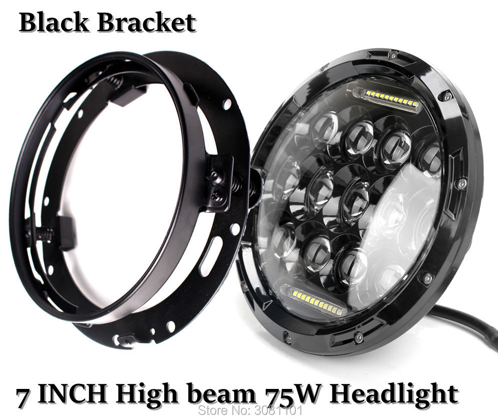 Set 7 inch 75W High Beam LED Headlight with White DRL Two sides& 7 INCH Headlight Bracket for Harley Trike models 2009-2013 ect.