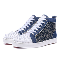 Air Mesh Mens Rivets Sneakers Fashion Denim Patchwork High Top Mens Casual Shoes Trainers Ultra Boosts Flats Walking Shoes Man