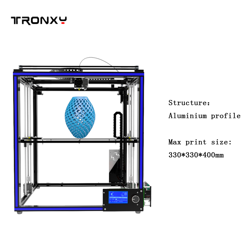 3D Printer 2017new Tronxy X5S Aluminium Profile Frame DIY kits High Precision Big size Print Area free dhl shipping large print area 210 210 280mm 3d printer aluminium structure filament 8gb sd card as gift tronxy 3d printer