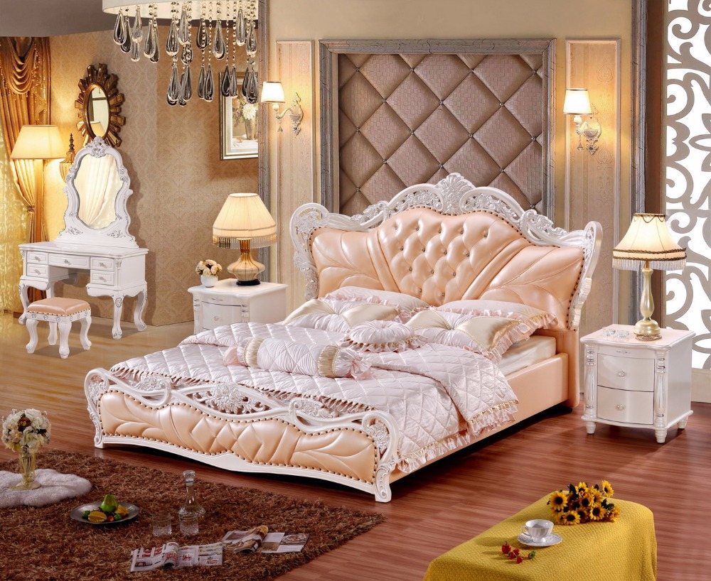 Europe and America Genuine leather bed frame Modern Soft Beds Home Bedroom Furniture cama muebles de dormitorio / camas quartoEurope and America Genuine leather bed frame Modern Soft Beds Home Bedroom Furniture cama muebles de dormitorio / camas quarto