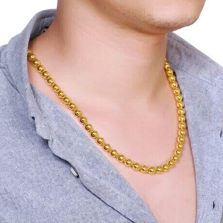 Hommes et femmes perles rondes chaîne perles 7mm collier hommes ne se fanent pas>>> livraison gratuite