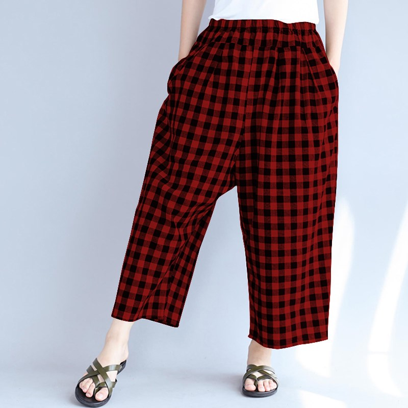 ZANZEA Oversized Women Elastic Waist Retro Plaid Check Casual Baggy Wide Leg Pantalon Pockets Loose Harem   Pants     Capris   Trousers