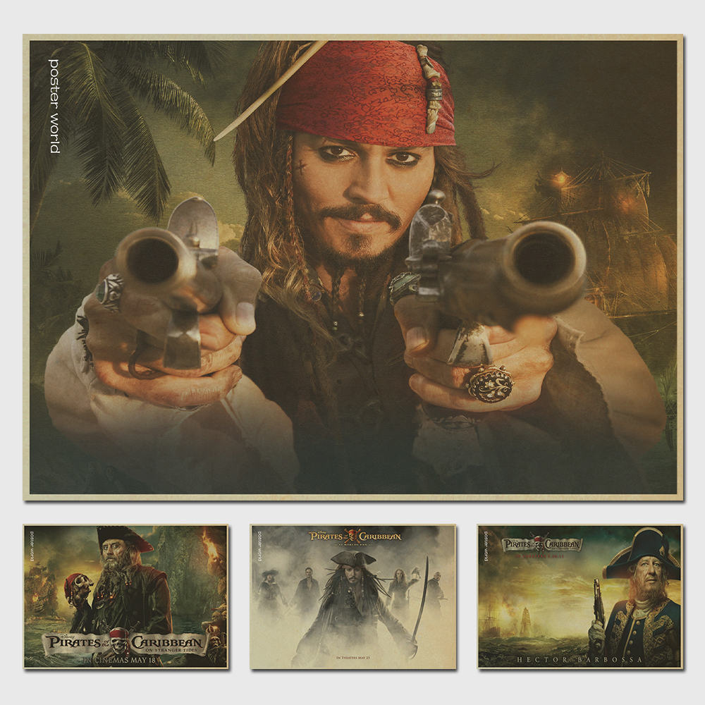 Pirates of the Caribbean movie posters sitting room adornment Kraft paper, poster hangs a picture mural restoring ancient ways