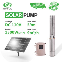 4 DC Deep Well Solar Water Pump 110V 2HP MPPT Controller with Stainless Steel Impeller Borehole Sun Power High Pressure