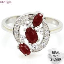 9.25# SheType 2.8g Real Red Ruby White CZ Real 925 Solid Sterling Silver Rings 14x13mm leige jewelry ruby vintage rings ruby rings july birthstone emerald cut red stone rings real 925 sterling silver elegant rings
