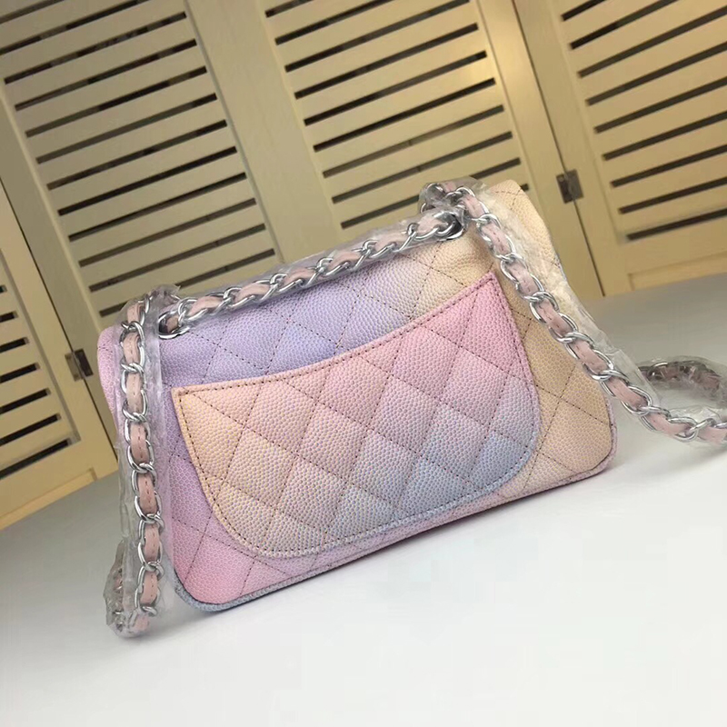Colorful Women Bag Luxury Brand Designer Rainbow le boy crossbody bag Top Quality 25cm Shoulder Bag Free shipping
