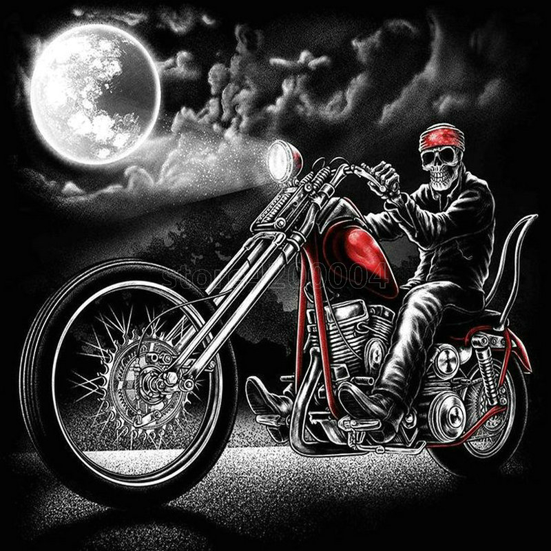 Best Seller Full Square 5D DIY Diamond Painting Skull Ride Motorcycle Icon 3D Diamond Embroidered Skull 50x50cm PT034