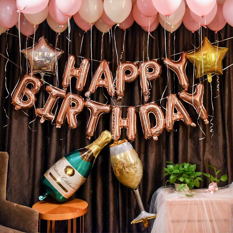 57 Pcs/lot Alphabet Champagne Photographie Lettre Feuille Ballon Décors Adulte Fête D'anniversaire Ensemble Rose Étoiles Latex Globo Fond