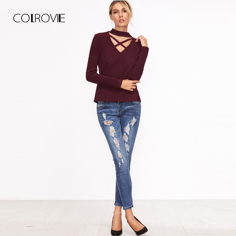 COLROVIE Burgundy Crisscross Choker Neck Ribbed Sexy T-Shirt 2018 Autumn  Cut Out V Neck Basic Top Tee ... a64ae58282af