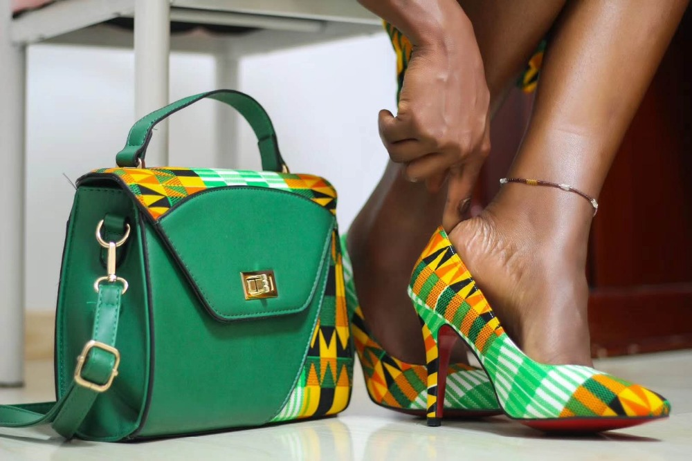 Fashion green and yellow mixed wax shoes and bag matching set fashion shoes and bag for african lady new designs SB8138-1