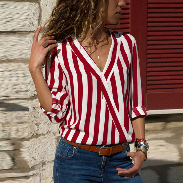 Women Striped Blouse Shirt Long Sleeve Blouse V-neck Shirts Casual Tops Blouse 37