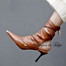 QY 920027 stylish pointed toe slingback 7.5cm high heel pumps with genuine leather sheepskin quality lace up stilettos
