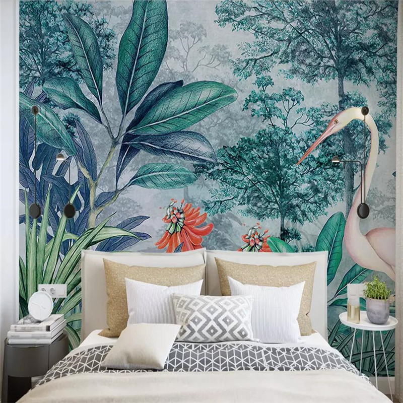 Hand painted tropical rainforest background wall large high grade canvas factory wholesale wallpaper mural photo wall in Fabric Textile Wallcoverings from Home Improvement