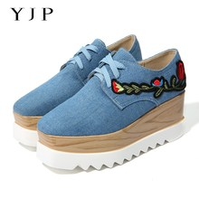 YJP Women Canvas Platform Shoes, Blue/Beige Wedges Flowers Embroidery Flats, Ladies Square Toe Floral Thick Bottom Flat Sneakers