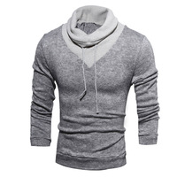 2017 Autumn New Fashion Men Hoodies Color Patchwork Pullover Winter Turtle Neck Sportswear Long Sleeve Casual