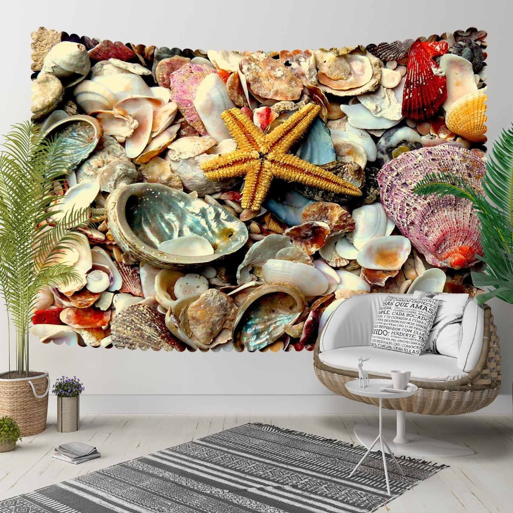 Else Tropical Brown Green Red Sea Shells Yellow Star 3D Print Decorative Hippi Bohemian Wall Hanging Landscape Tapestry Wall Art