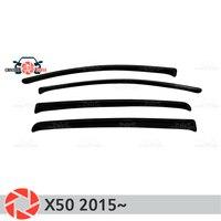 Deflector janela para Lifan X50 2015 ~ chuva defletor sujeira proteção styling acessórios de decoração do carro de moldagem
