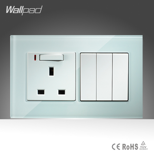 13A UK Switched LED Socket and 3 Gang Wallpad 146*86mm BS CE White Crystal Glass 13A UK Socket and  3 Gang Switch Free Shipping wallpad luxury double 13 a uk switched socket goats brown leather 1 gang switch and 13a wall socket with neon free shipping